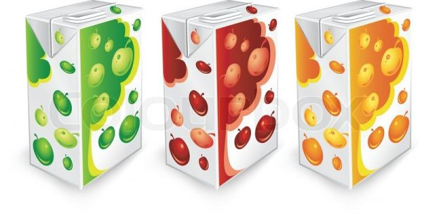 2124735 juice carton packages with apple drawing on white background vector illustration