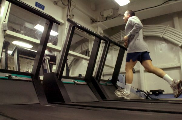 US Navy 070406 N 7130B 187 In the aft gym aboard the aircraft carrier USS Ronald Reagan CVN 76 Master Chief Electronics Technician James Poletto from New Milford Conn. runs on the treadmill 1478335257